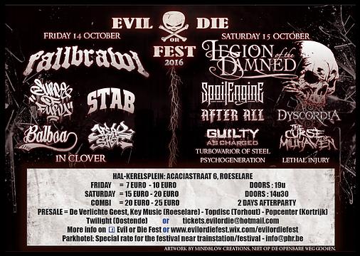 Evil or Die Fest – 15 oktober – Zaal Kerelsplein Roeselare