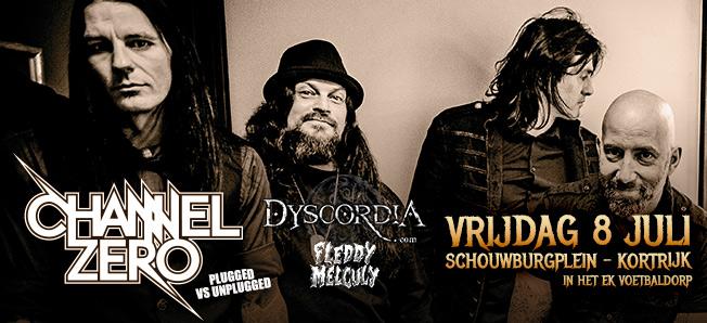Channel Zero – Fleddy Melculy – Dyscordia, A warm-up evening for Alcatraz Metal Fest, 8 juli 2016 – Kortrijk