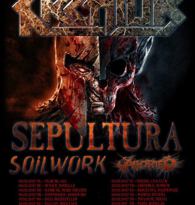 Kreator + Sepultura + Soilwork + Aborted – De Mast Torhout – 3 maart 2017