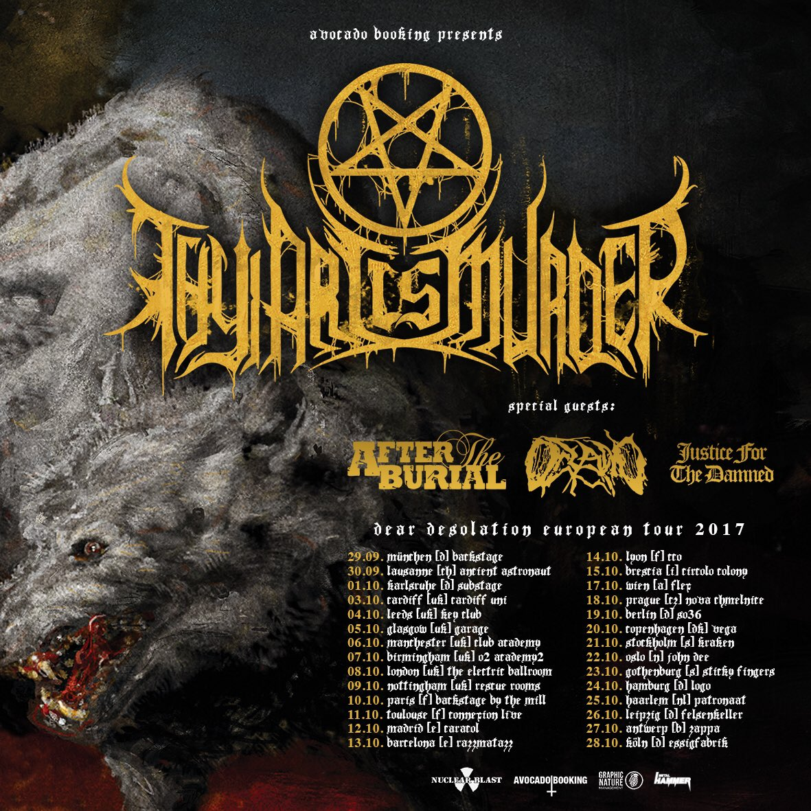 Thy Art Is Murder + After The Burial + Oceano + Justice For The Damned / Zappa, Antwerpen / 27-10-2017