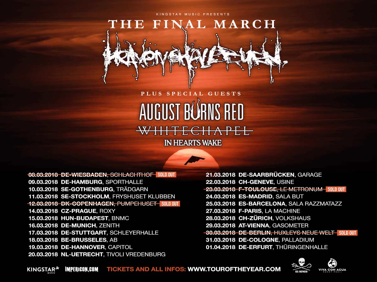 Heaven Shall Burn + August Burns Red + Whitechapel + In Hearts Wake @ Ancienne Belgique – 18 maart 2018