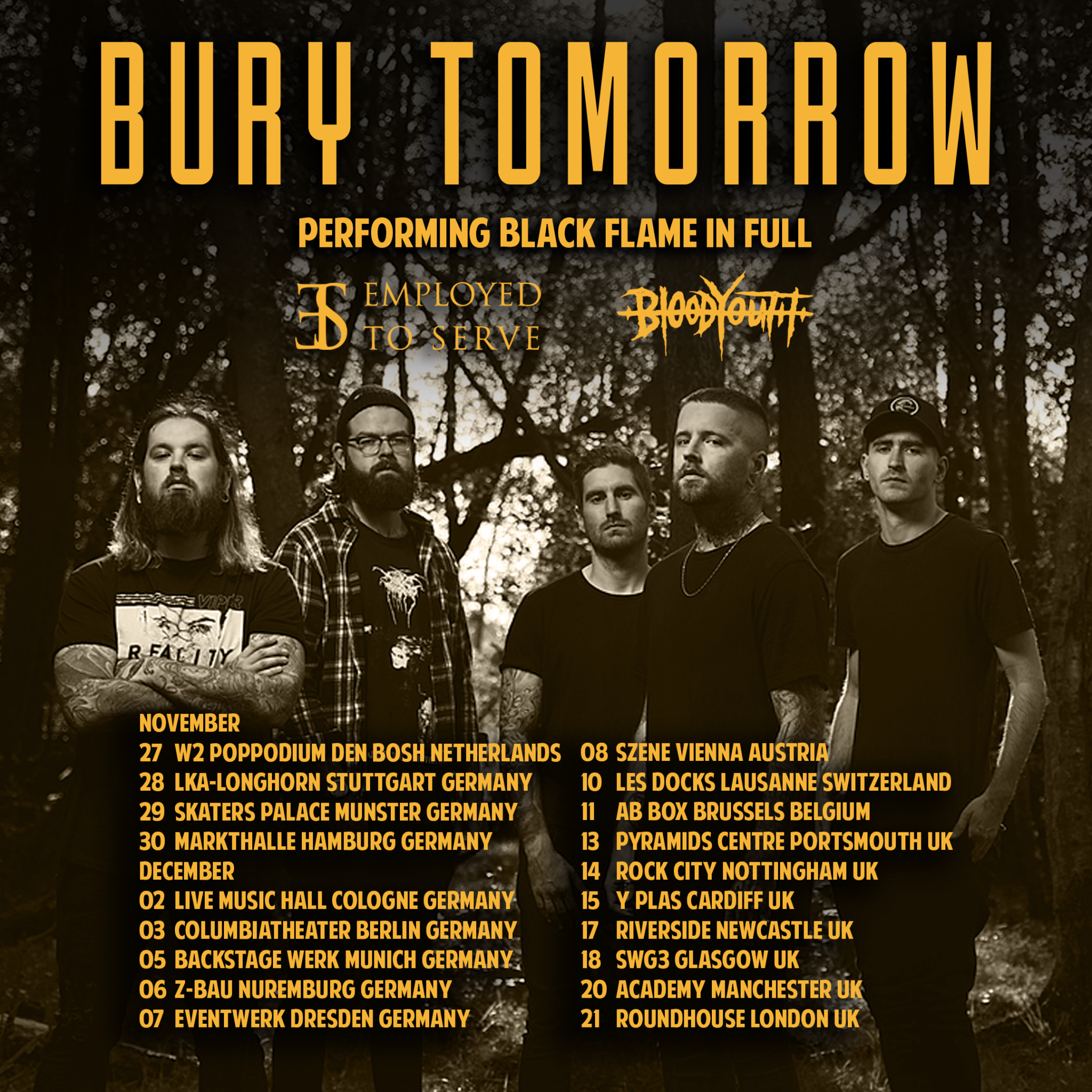 Bury Tomorrow + Employed To Serve + Blood Youth @ AB Club, Brussel / 11-12-2019